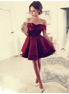 2021 Burgundy Cut Shorts Layers Off-The-Shoulder Sweetheart Mini A-Line/Princess Homecoming Dresses