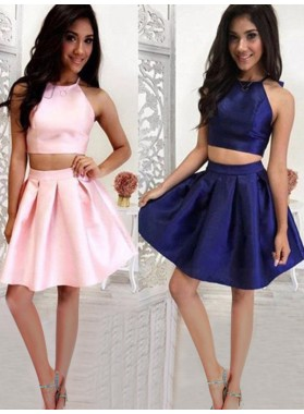 Two Piece Halter Sleeveless Satin Pleated Cut Short/Mini Homecoming Dresses