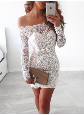 Lace White Off-The-Shoulder Cut Short/Mini Sheath/Column Long Sleeve Homecoming Dresses