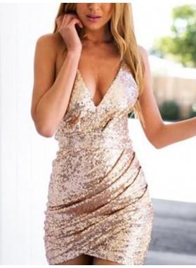 Sequin Sheath/Column Sleeveless V Neck Zipper Up Cut Short Mini Homecoming Dresses
