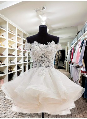 Ball Gown Botton Layer Applique Beading Off-The-Shoulder Cut Short Mini Homecoming Dresses
