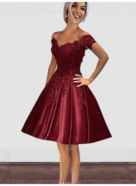 Knee-Length Pleated Burgundy Applique Beading Off-The-Shoulder Homecoming Dresses