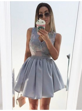 Ball Gown Cut Short Pleated Applique V Neck Sleeveless Mini Homecoming Dresses