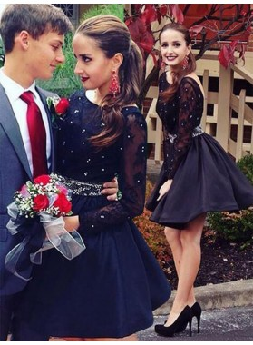 Scoop Neck Long Sleeve Backless Cut Short Mini Lace Beading Ball Gown Homecoming Dresses