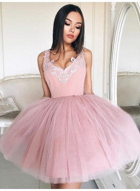 Tulle Ball Gown V Neck Sleeveless Applique Cut Short Mini Homecoming Dresses