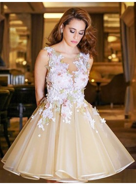 Ball Gown Organza Applique V Neck Sleeveless Backless Knee-Length Homecoming Dresses