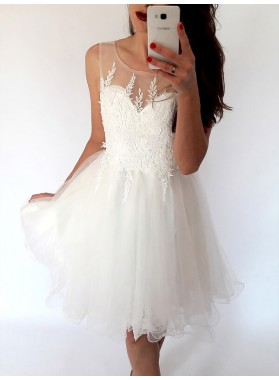 Organza A-Line/Princess Scoop Neck Sleeveless Applique Short Mini Homecoming Dresses