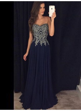 Strapless Sweetheart Navy Blue Ethnic Appliques Flowers Chiffon Pleated Exquisite Prom Dresses 2020