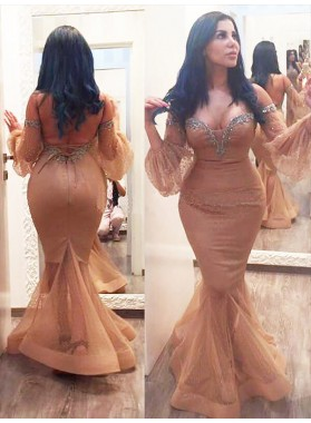 Mermaid Satin Champagne Off The Shoulder Sweetheart Long Puff Sleeve Backless Prom Dresses 2020