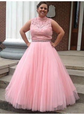 High Neck Pink Sleeveless Tulle Lace Appliques Sash Pleated Prom Dresses 2020