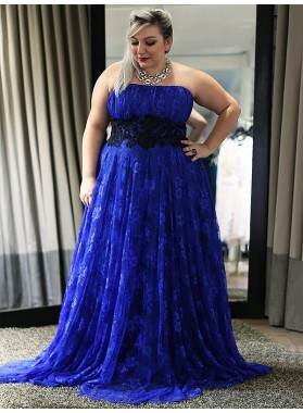 Strapless A Line Lace Royal-Blue Appliques Pleated Flowers Floor Length Prom Dresses 2020