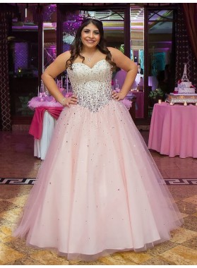 Pink Ball Gown Tulle Strapless Sweetheart Rhinestone Pleated Floor Length Prom Dresses 2020