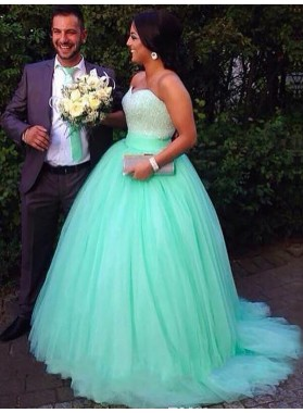 Strapless Tulle Sweetheart Turquoise Ball Gown Sparkle Floor Length Prom Dresses 2020