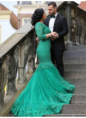 Mermaid Lace Jade 3/4 Sleeve Floor Length Intricate Pleated Prom Dresses 2020