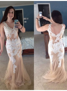 Backless V Neck Lace Mermaid Champagne Sleeveless Appliques Tulle Sheer Flowers Prom Dresses 2020