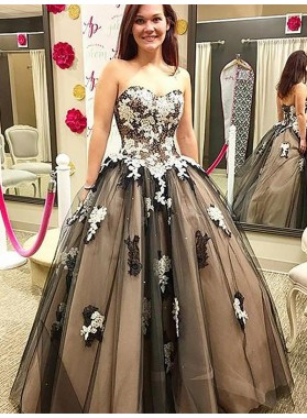 Strapless Sweetheart Ball Gown Backless Tulle Black Appliques Beading Prom Dresses 2020