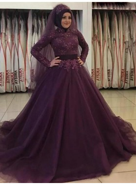 Grape Ball Gown Long Sleeve Lace Appliques Pleated Tulle Prom Dresses 2020