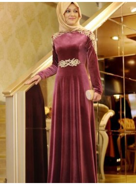 Burgundy Long Sleeve Appliques Pleated Elegant Satin A Line Prom Dresses 2020