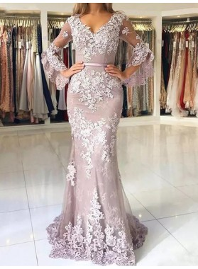V Neck Grey Lace Appliques Long Sleeve Mermaid Flowers Exquisite Prom Dresses 2020