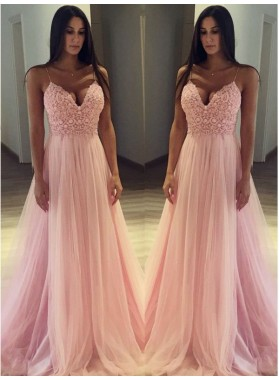 Spaghetti Straps Pink V Neck Sexy Tulle Lace Pleated Prom Dresses 2020