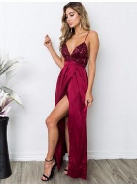 Front Split Spaghetti Straps Deep V Neck Burgundy Sexy Sequins Satin Prom Dresses 2020