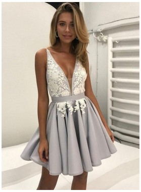 Silver Lace Deep V Neck Straps A Line Appliques Pleated Flowers Satin Homecoming Dresses