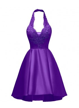 Halter Deep V Neck Satin Appliques Purple Backless Pleated A Line Homecoming Dresses