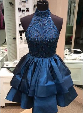 Halter High Neck Dark Blue Sleeveless A Line Tiered Satin Beading Appliques Homecoming Dresses