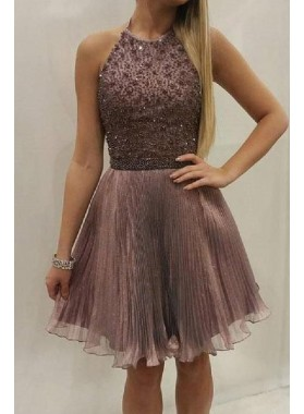 Halter Sleeveless Organza Brown A Line Pleated Beading Sparkle Charming Homecoming Dresses