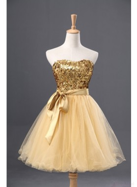 Strapless Sweetheart Backless Light Yellow Sequins Bow Knot A Line Homecoming Dresses