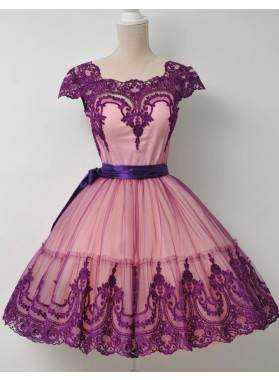 Square Neck Fuchsia Cap Sleeve A Line Appliques Lace Ribbon Trim Homecoming Dresses