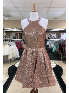 Halter Sequins Sleeveless Backless A Line Pleated Short Sparkle Charming Homecoming Dresses