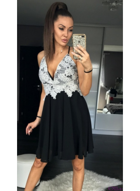 Straps Deep V Neck Criss Cross Sleeveless Appliques Backless Chiffon Black Homecoming Dresses