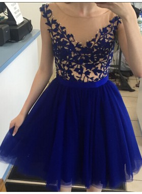 Scoop Cap Sleeve A Line Tulle Royal Blue Appliques Pleated Homecoming Dresses
