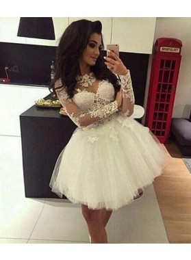 Jewel Long Sleeve Lace Appliques A Line Pleated Tulle Sheer Short Homecoming Dresses
