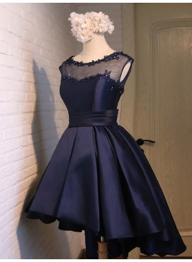 Scoop Ball Gown Backless Cap Sleeve Sheer High Low Dark Navy Satin Appliques Homecoming Dresses