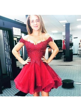 Appliques Lace Off The Shoulder Organza Pleated Burgundy A Line Homecoming Dresses