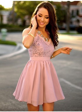 Spaghetti Straps A Line V Neck Chiffon Pleated Lace Short Flowers Homecoming Dresses