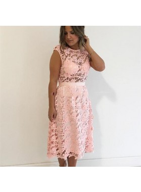 Jewel Cap Sleeve A Line Lace Pink Hollow Flowers Homecoming Dresses