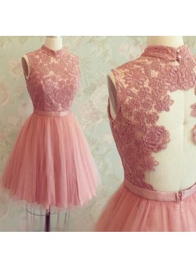 Sleeveless Pink High Neck Appliques Lace Sheer Back Tulle Pleated A Line Homecoming Dresses