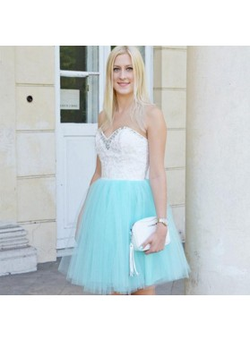 Strapless Sweetheart Appliques Backless A Line Tulle Blue Beading Cute Homecoming Dresses