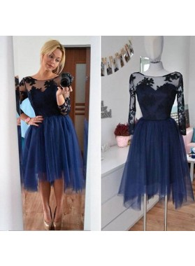 Long Sleeve Scoop Appliques Sheer A Line Pleated Tulle Flowers Homecoming Dresses