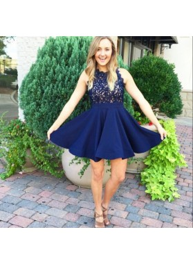 Dark Navy A Line Satin Appliques Sleeveless Lace Halter Pleated Homecoming Dresses