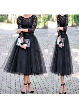 Scoop Lace Black A Line Long Sleeve Sheer Tulle Pleated Elegant Homecoming Dresses