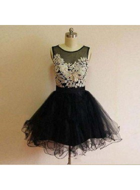 Black Scoop Sleeveless Appliques A Line Organza Pleated Sheer Homecoming Dresses