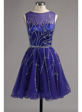 Jewel Sleeveless A Line Dark Navy Beading Rhinestone Pleated Organza Homecoming Dresses