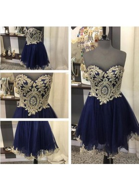 A Line Strapless Sweetheart Dark Navy Tulle Appliques Lace Exquisite Homecoming Dresses