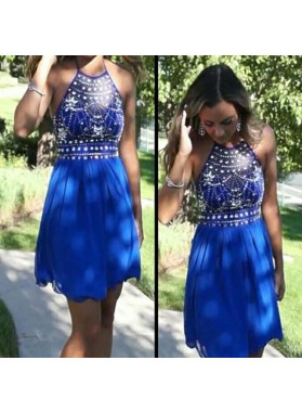 Chiffon A Line Rhinestone Beading Halter Sleeveless Royal Blue Homecoming Dresses