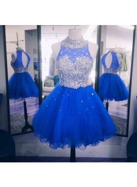 High Neck Sleeveless Backless A Line Organza Appliques Royal Blue Homecoming Dresses