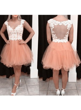 Deep V Neck Rhinestone A Line Organza Cap Sleeve Backless Pleated Homecoming Dresses